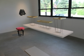 (L to R) Eve Fineman, A-line Stool; Stephanie Cobb, Double Slit; Kari Merkl, Holder